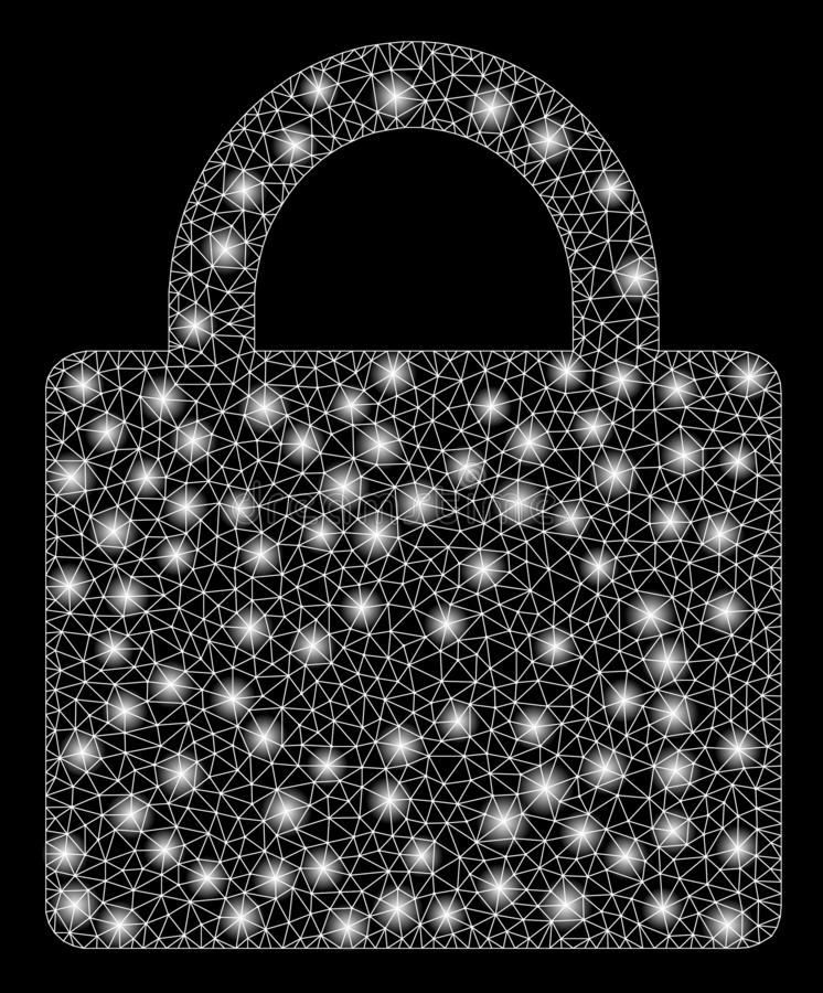 Flare Mesh Carcass Lock with Flare Spots. Flare mesh lock with glitter effect. Abstract illuminated model of lock icon. Shiny wire carcass polygonal mesh lock stock illustration
