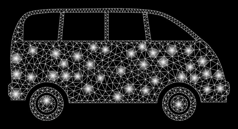 Flare Mesh Carcass Minibus with Flash Spots. Glossy mesh minibus with lightspot effect. Abstract illuminated model of minibus icon. Shiny wire frame polygonal royalty free illustration