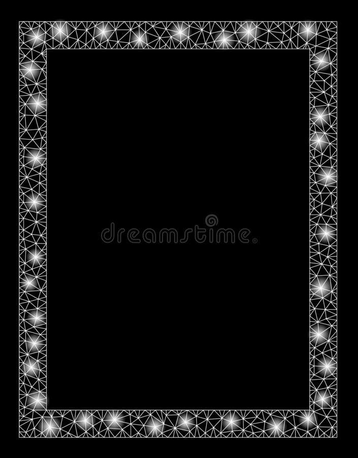 Flare Mesh Carcass Page with Flare Spots. Glossy mesh page with glitter effect. Abstract illuminated model of page icon. Shiny wire carcass triangular mesh page stock illustration