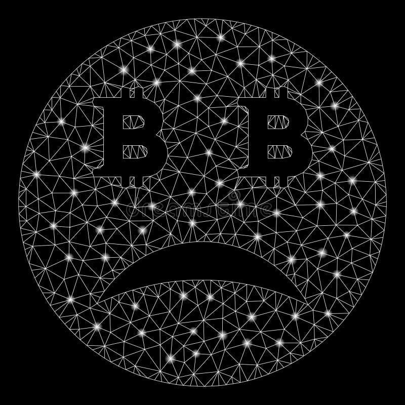 Flare Mesh Carcass Sad Bitcoin Smiley with Flare Spots. Glossy mesh sad Bitcoin smiley with glitter effect. Abstract illuminated model of sad Bitcoin smiley icon vector illustration