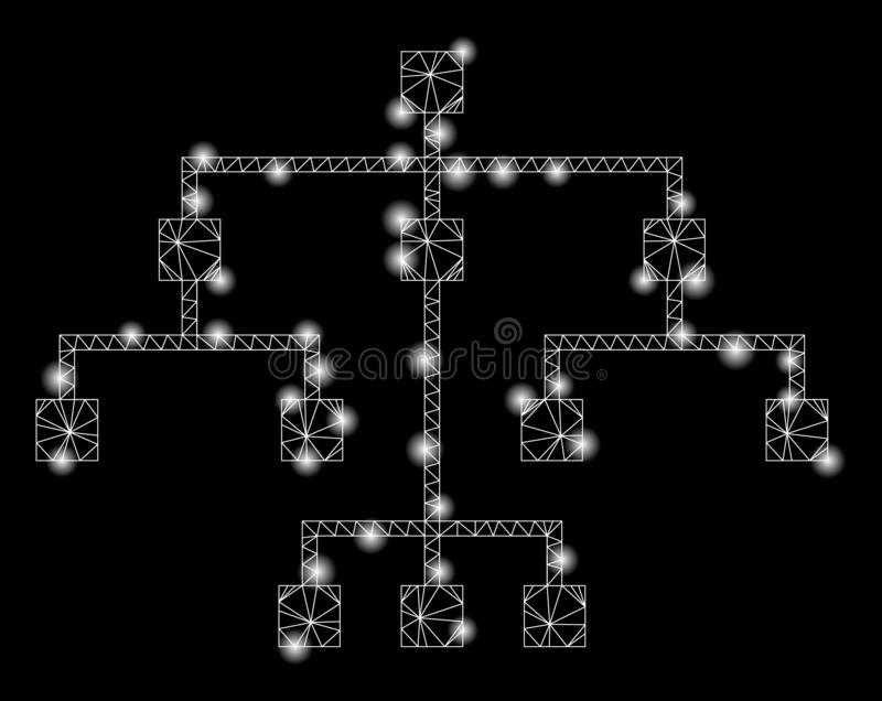 Flare Mesh 2D Algorithmic Tree with Flare Spots. Glossy mesh algorithmic tree with glow effect. Abstract illuminated model of algorithmic tree icon. Shiny wire vector illustration
