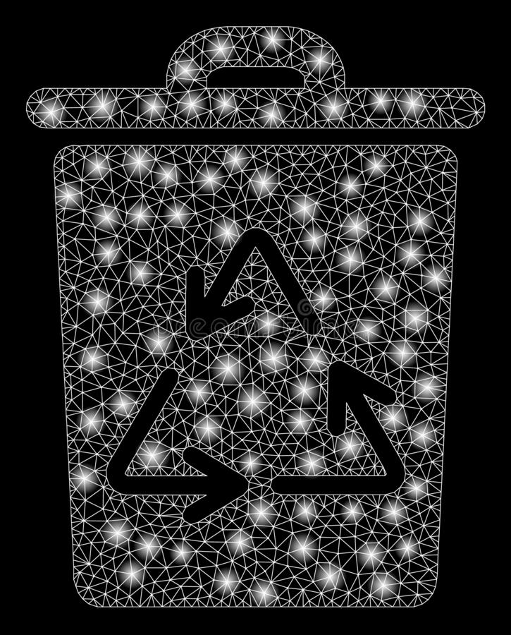 Flare Mesh 2D Recycling Bin with Flare Spots. Glossy mesh recycling bin with sparkle effect. Abstract illuminated model of recycling bin icon. Shiny wire frame stock illustration