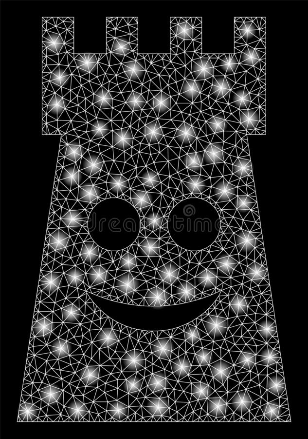 Flare Mesh Network Glad Fort Tower with Flare Spots. Flare mesh glad fort tower with sparkle effect. Abstract illuminated model of glad fort tower icon. Shiny vector illustration