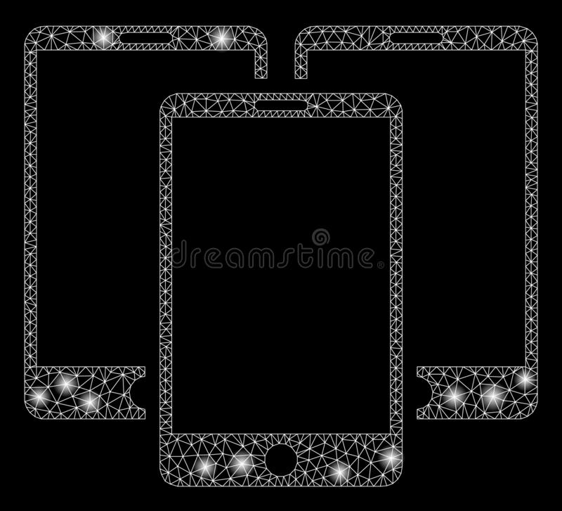 Flare Mesh Wire Frame Mobile Phones with Flare Spots. Flare mesh mobile phones with glow effect. Abstract illuminated model of mobile phones icon. Shiny wire royalty free illustration