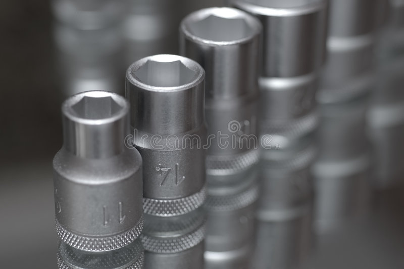 Flare nut wrench set royalty free stock photo
