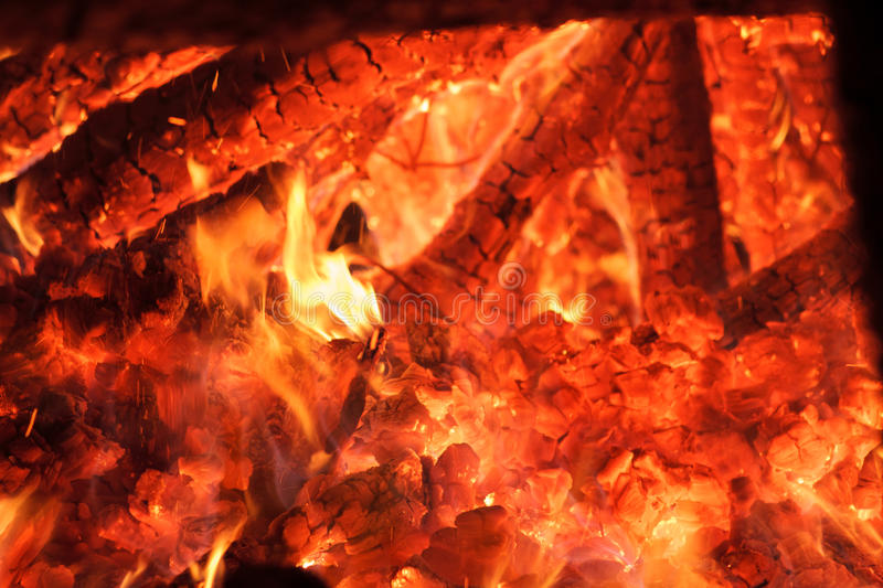 Flaring heat fire and coals stock images