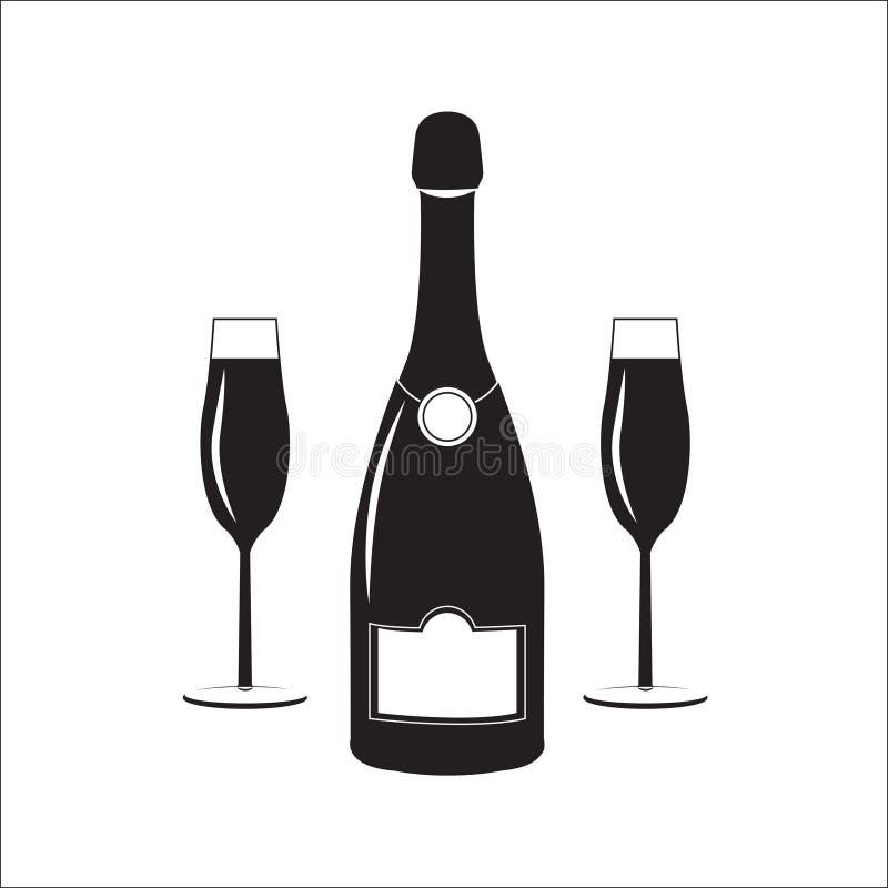 Flasche Champagnerwein mit zwei Gläsern Lineare Illustration stock abbildung