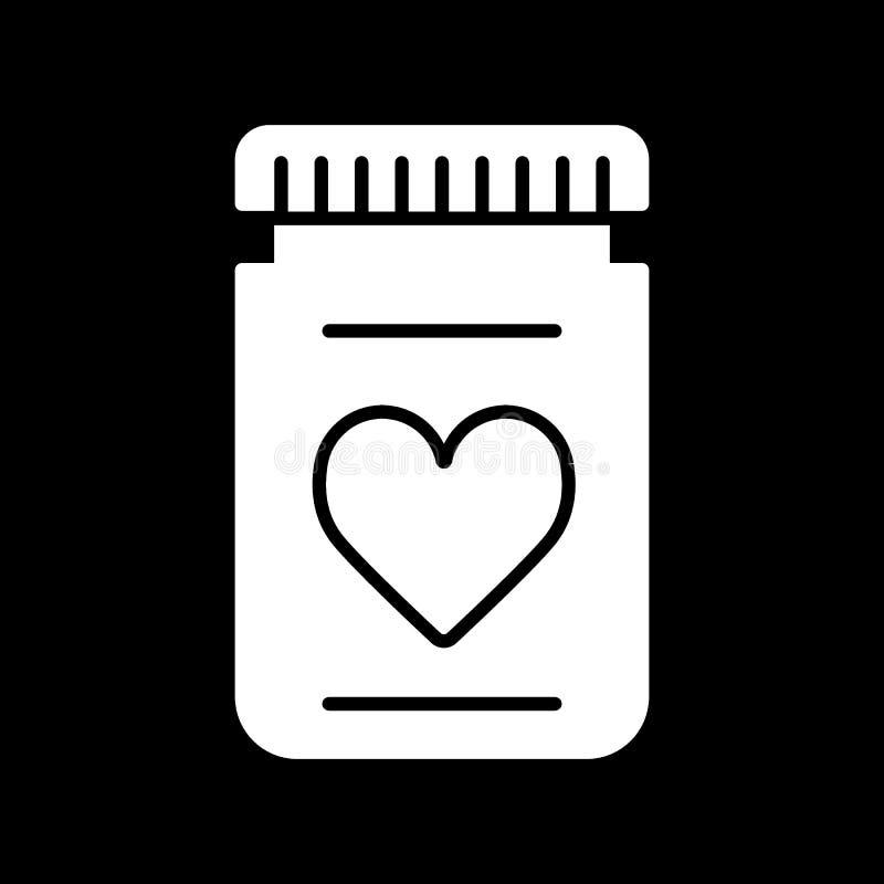 Flasche der Pillenvektorikone auf Schwarzem Flasche mit Herzzeichen Einfache lineare feste Ikone stock abbildung