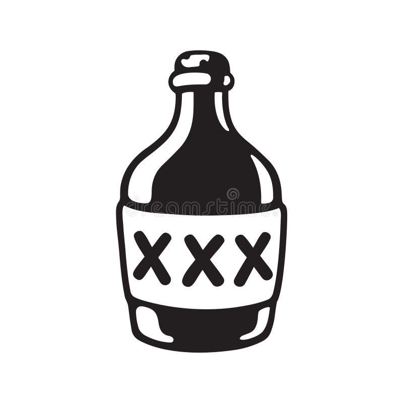 Flasche des Alkohols XXX lizenzfreie abbildung