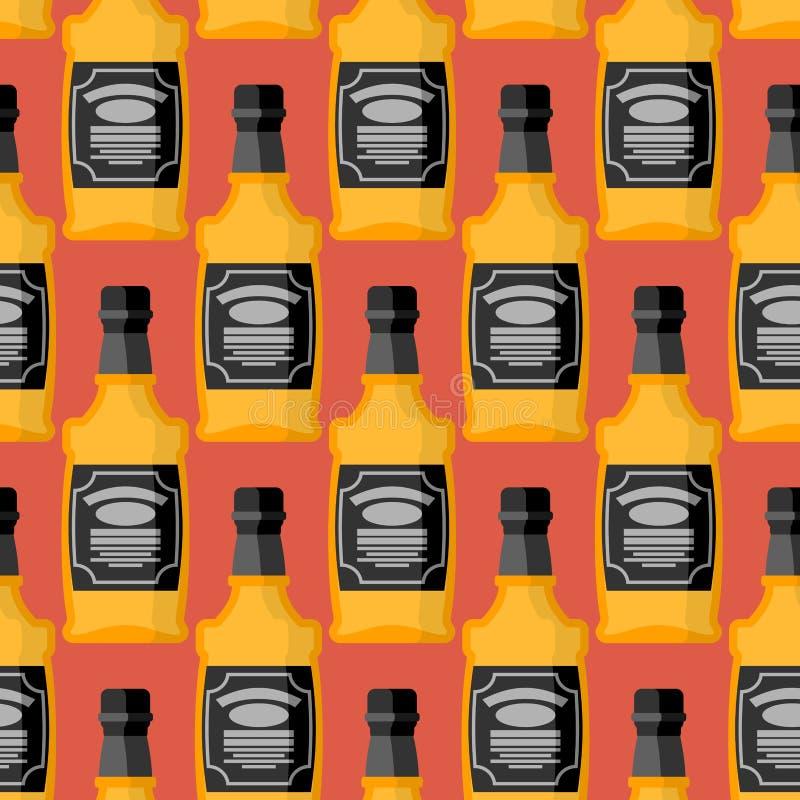 Flasche des nahtlosen Musters des Whiskys Bourbon-Verzierung Tequila te lizenzfreie abbildung