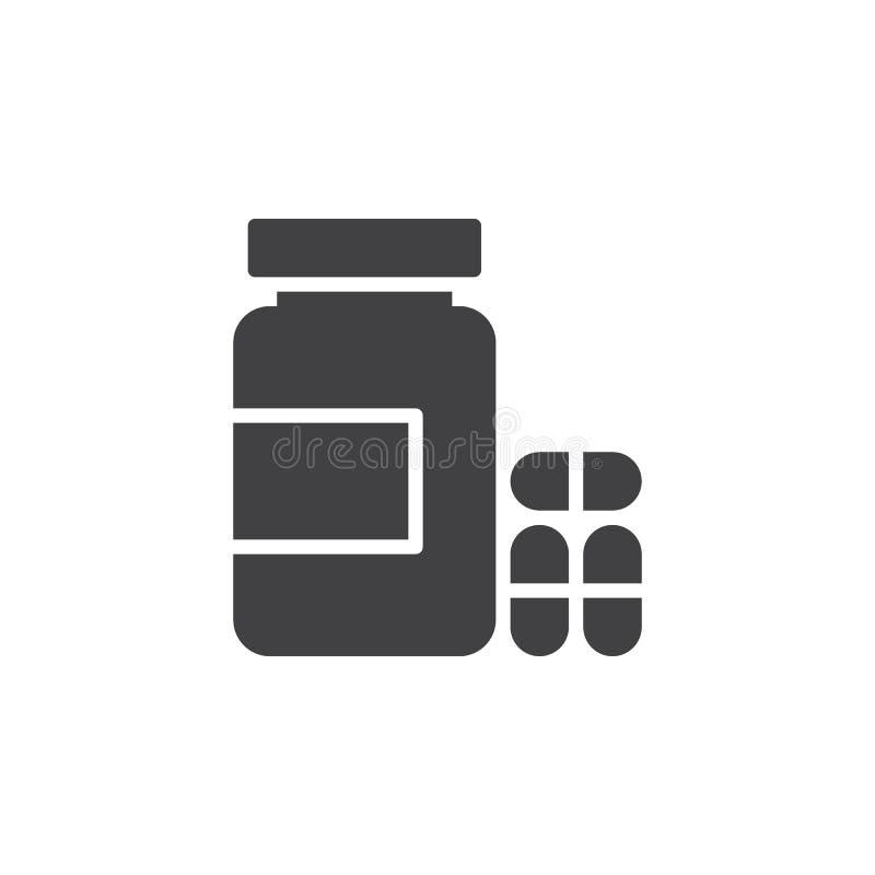 Flasche des Pillenikonenvektors, gefülltes flaches Zeichen, festes Piktogramm lokalisiert auf Weiß vektor abbildung