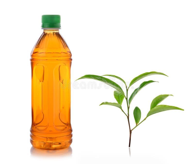 Flasche Eistee und grüner Tee lizenzfreie stockbilder