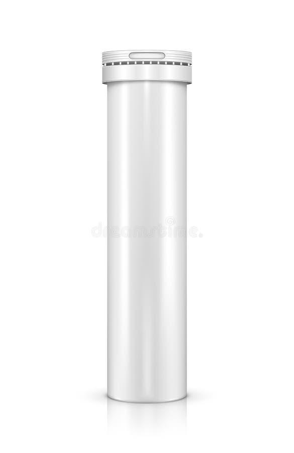 Flasche für die Vitamintabletten lokalisiert auf Weiß stock abbildung
