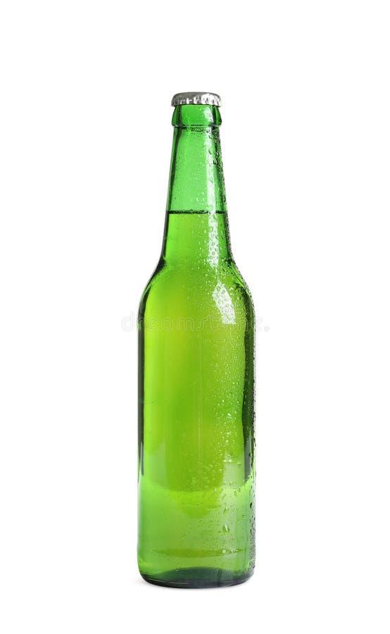 Flasche geschmackvolles kaltes Bier stockbild