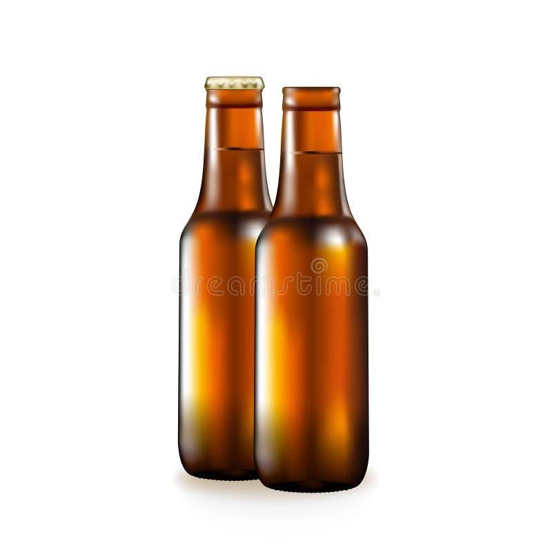 Flasche mit Bier, populäres alkoholisches Getränk, dunkles Glas eines Behälters, lizenzfreie abbildung
