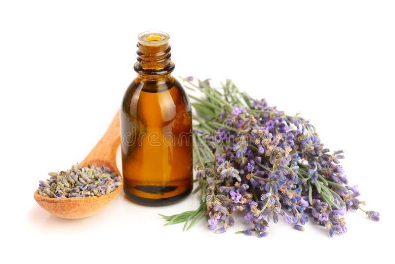Flasche mit den Aromaöl- und -lavendelblumen lokalisiert auf weißem Hintergrund lizenzfreie stockfotos