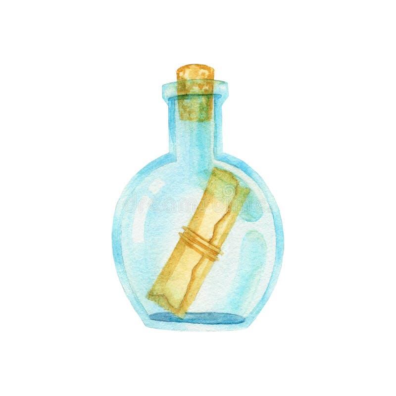 Flasche mit einem Buchstaben innerhalb der handgemalten Illustration des Aquarells lizenzfreie abbildung