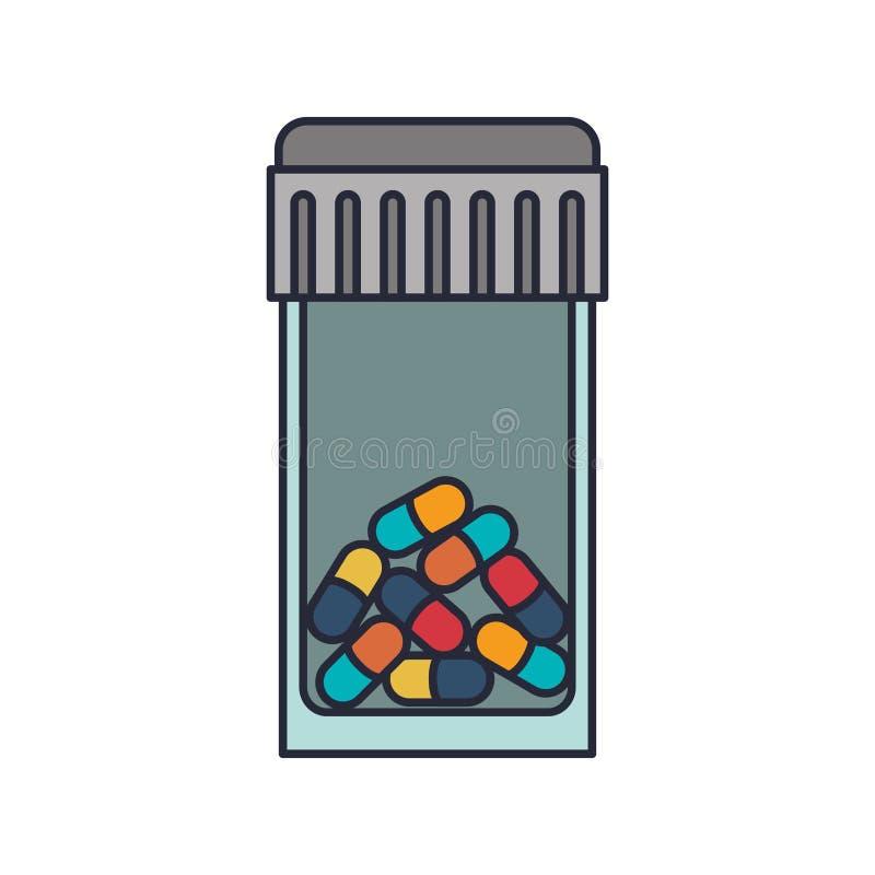 Flasche mit Hahn und bunten Pillen vektor abbildung