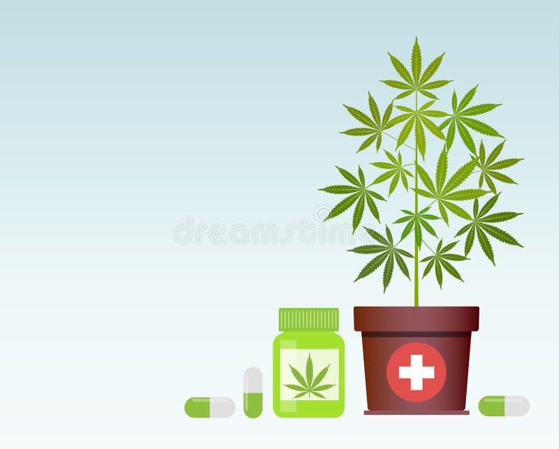 Flasche mit medizinischem Marihuana und medizinischen Hanfpillen Flaschenspott oben stock abbildung