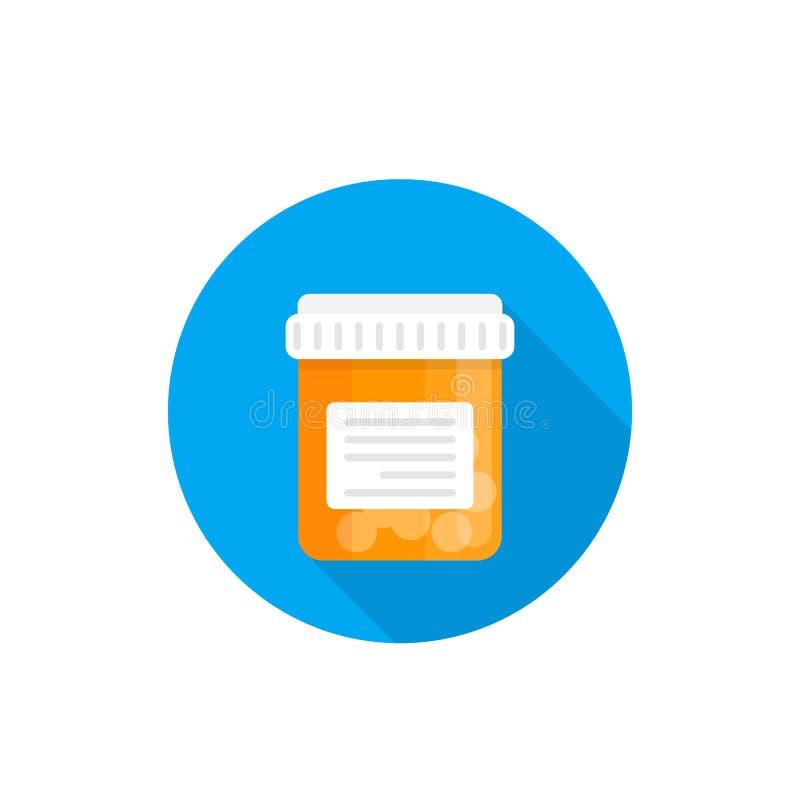 Flasche mit Pillen, Medizinikone vektor abbildung