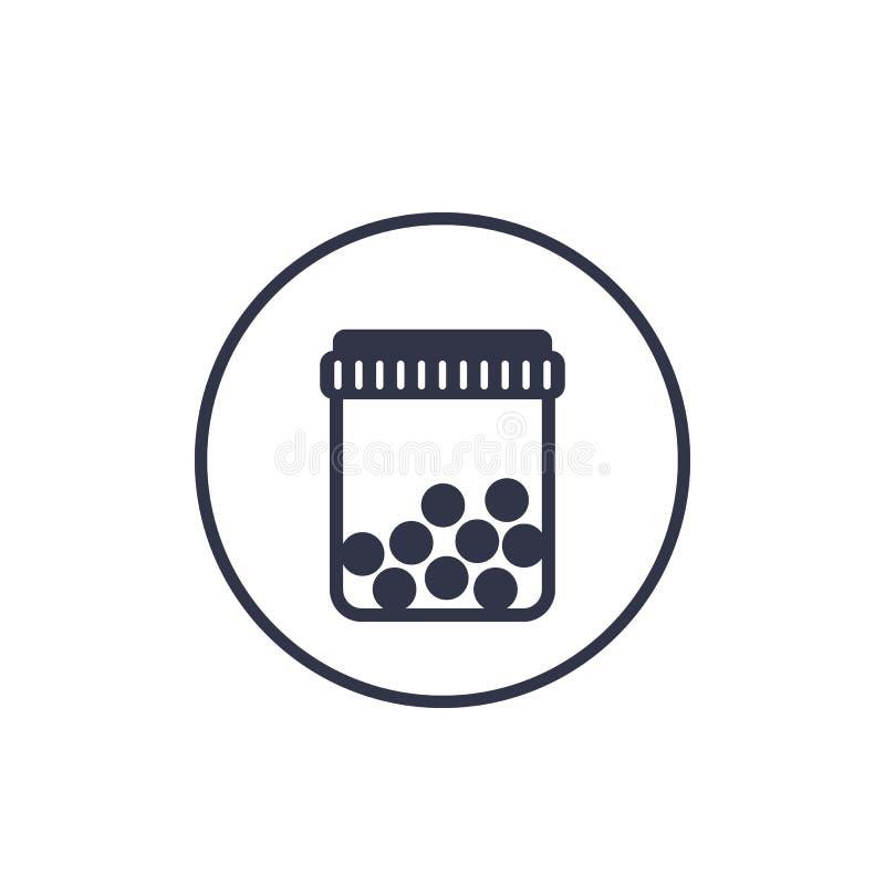 Flasche mit Pillenikone auf Weiß vektor abbildung
