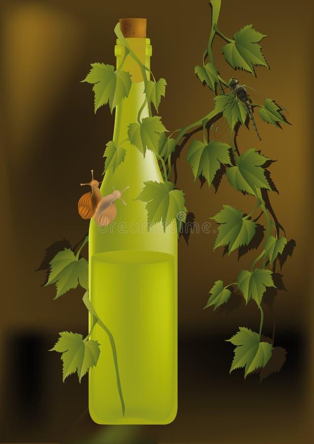 Flasche mit weißem Wein vektor abbildung