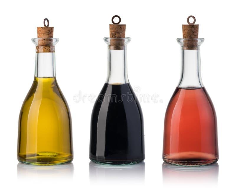Flasche Olivenöl und Essig lizenzfreie stockbilder