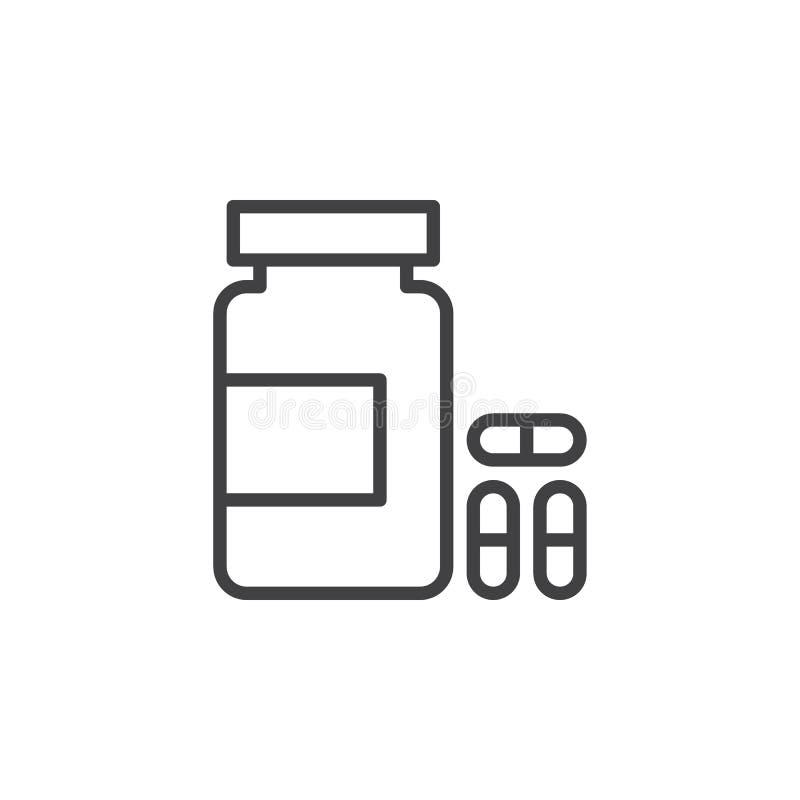 Flasche Pillen zeichnen Ikone, Entwurfsvektorzeichen, das lineare Artpiktogramm, das auf Weiß lokalisiert wird lizenzfreie abbildung
