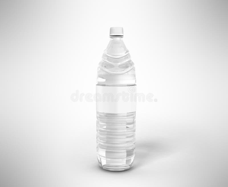 Flasche Plastikweiß mit Wasser 3d übertragen auf grauem Hintergrund lizenzfreie abbildung