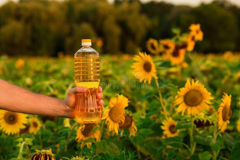 Flasche Sonnenblumenöl Sonnenblumenöl verbessert Hautgesundheit und fördert Zellregeneration stockfotos