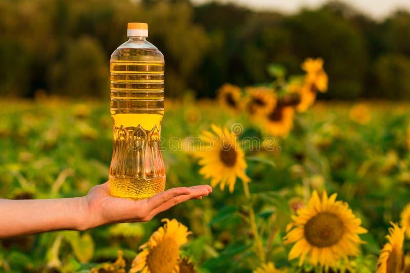 Flasche Sonnenblumenöl Sonnenblumenöl verbessert Hautgesundheit und fördert Zellregeneration lizenzfreies stockbild