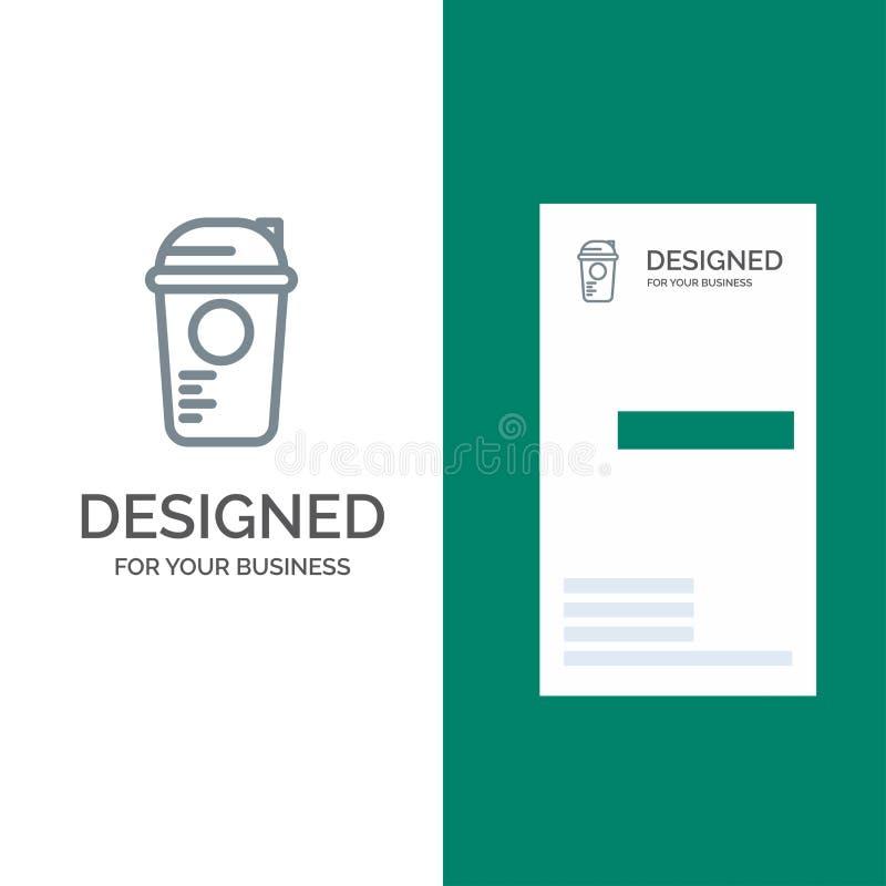 Flasche, Spiel, Erholung, Sport, Thermo Grey Logo Design und Visitenkarte-Schablone vektor abbildung