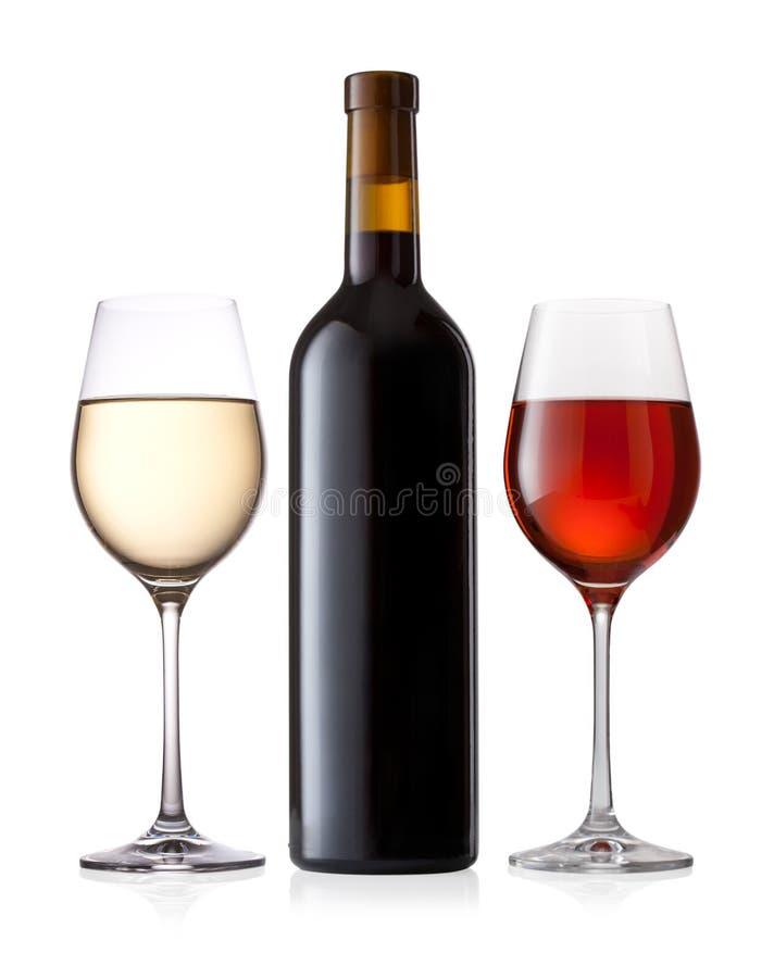 Flasche und Gläser Wein stockfotos