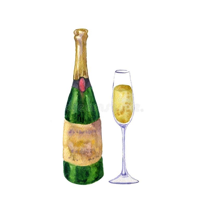 Flasche und Glas Champagner stock abbildung