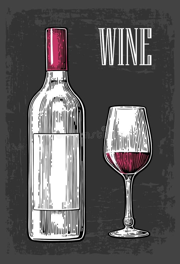Flasche und Glas mit Wein Schwarze Weinlese gravierte Illustration auf dunklem Hintergrund Für Aufkleber Plakat, Netz vektor abbildung