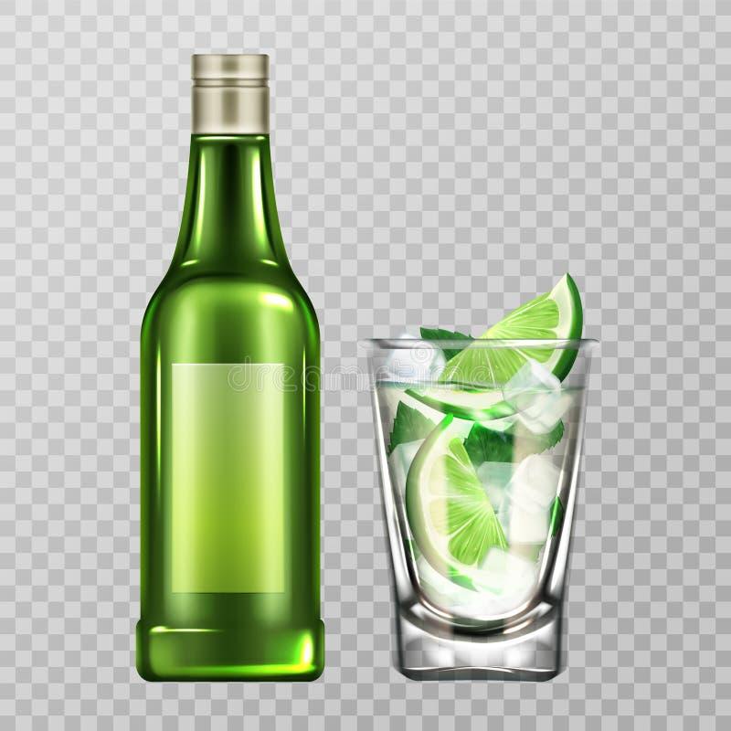 Flasche und Glas Mojito mit Alkohol, Kalk und Eis vektor abbildung