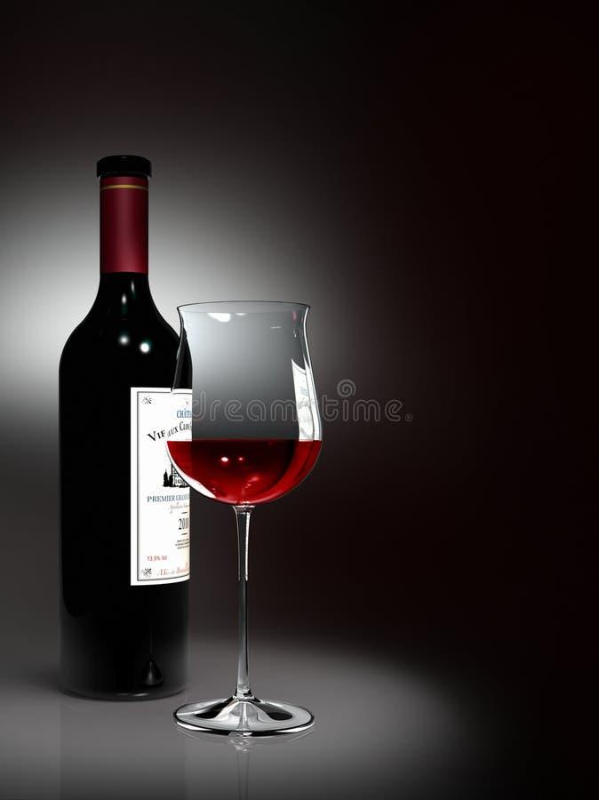Flasche und Glas Rotwein stock abbildung