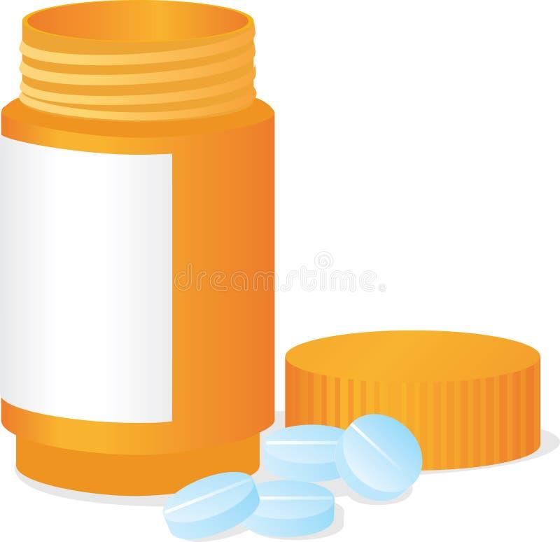 Flasche und Tabletten stock abbildung