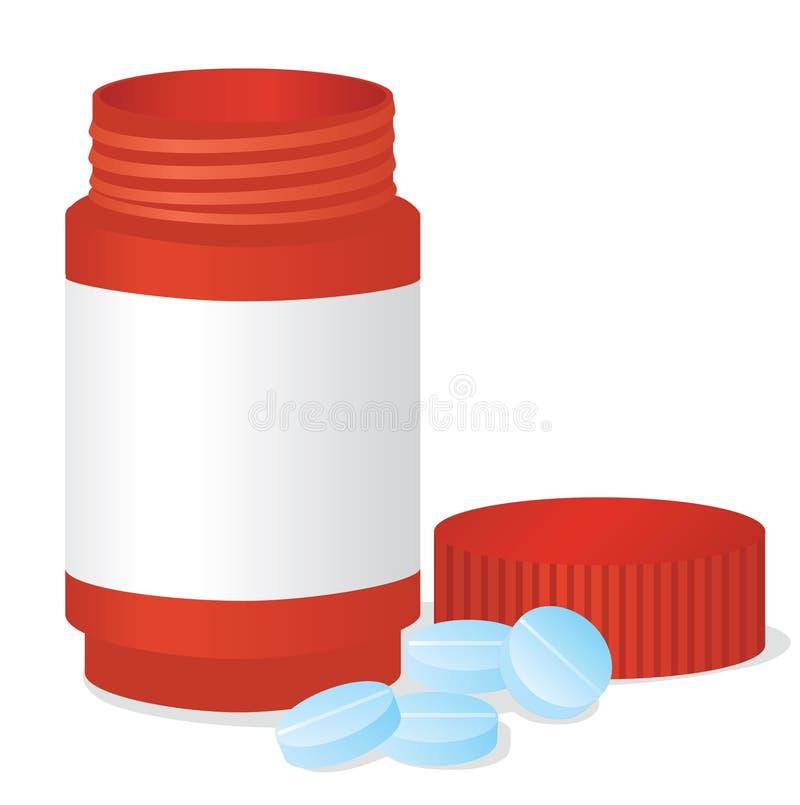 Flasche und Tabletten lizenzfreie abbildung