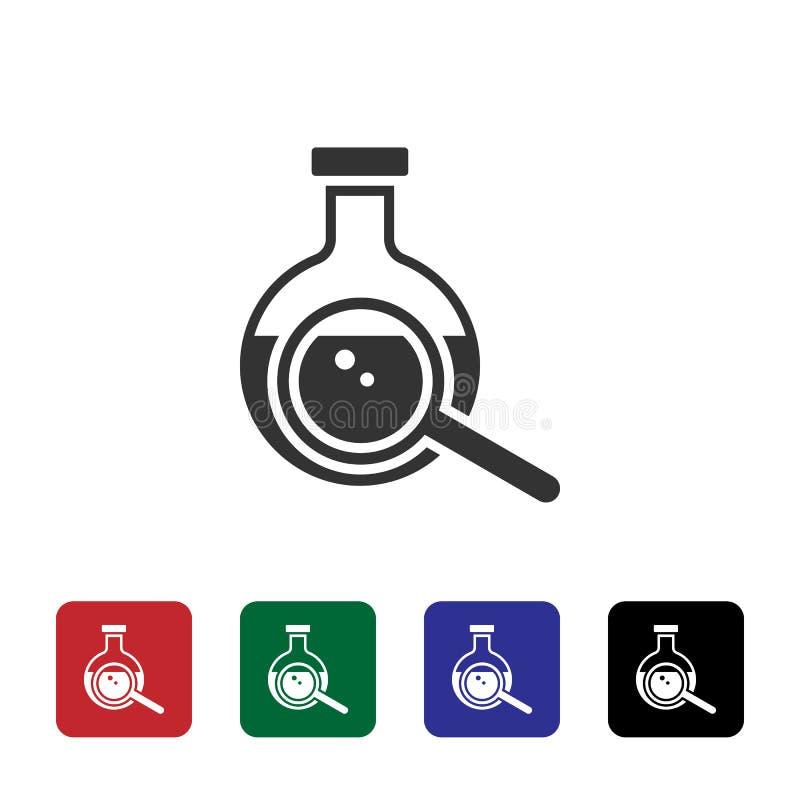 Flasche, Vergrößerungsglasvektorikone Einfache Elementillustration vom Biotechnologiekonzept Flasche, Vergrößerungsglasvektorikon stock abbildung