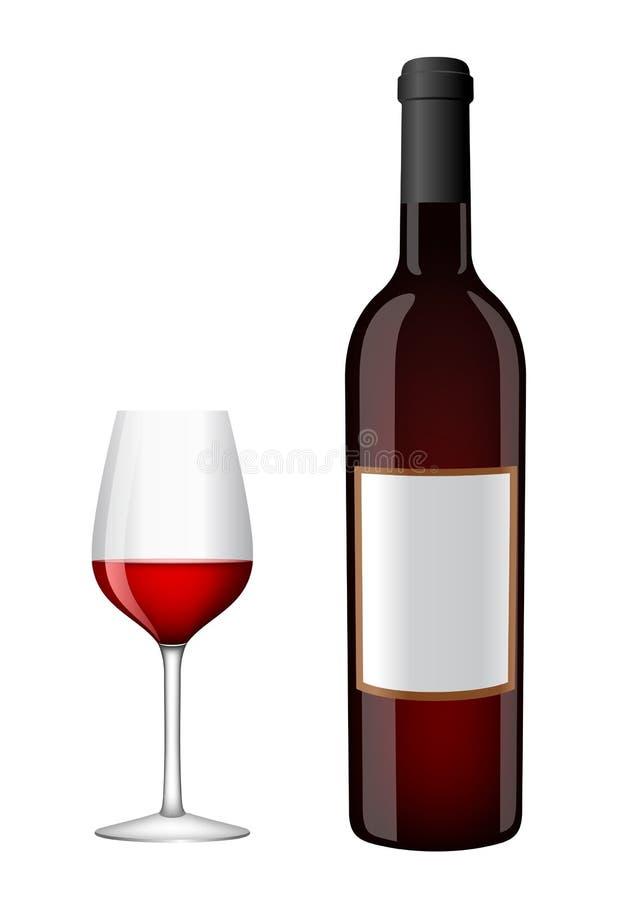 Flasche Wein mit einem Glas lizenzfreie abbildung