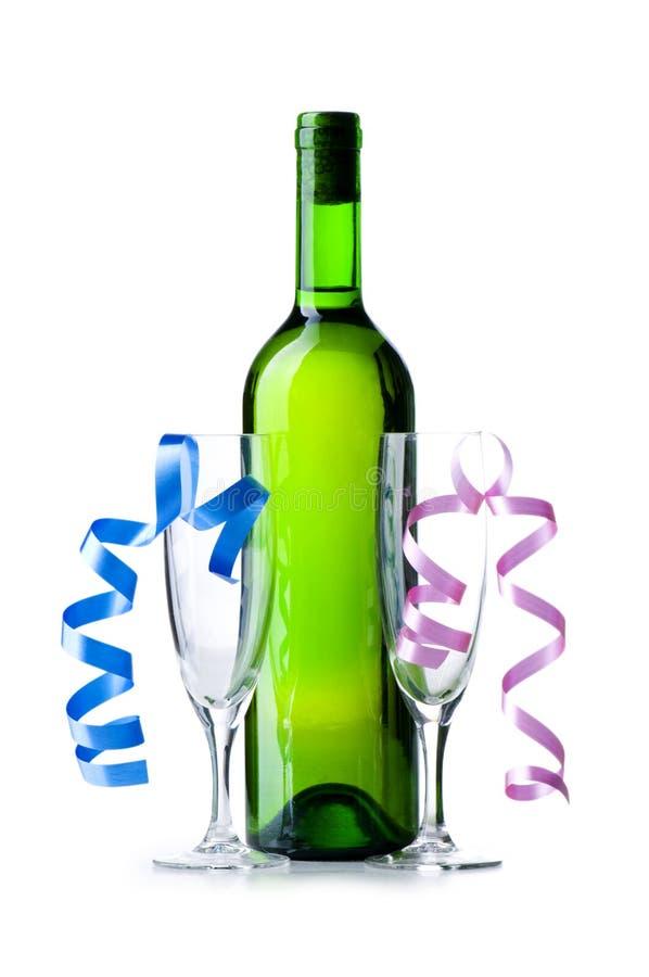 Flasche Wein und Glas stockfoto