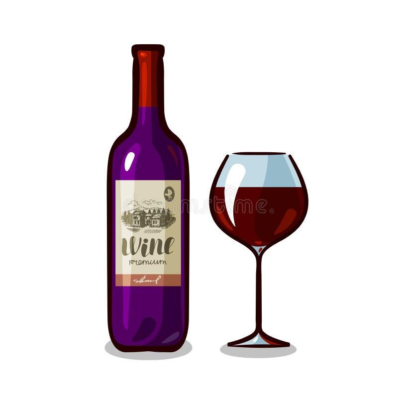 Flasche Wein und Glas Weinkellerei, alkoholisches Getränk, Getränkekonzept Auch im corel abgehobenen Betrag lizenzfreie abbildung
