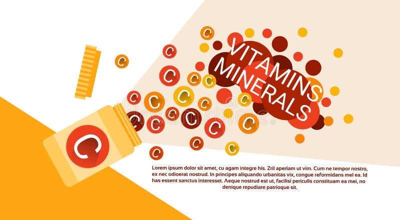 Flasche wesentliche chemische Element-Nährmineral-Vitamine lizenzfreie abbildung
