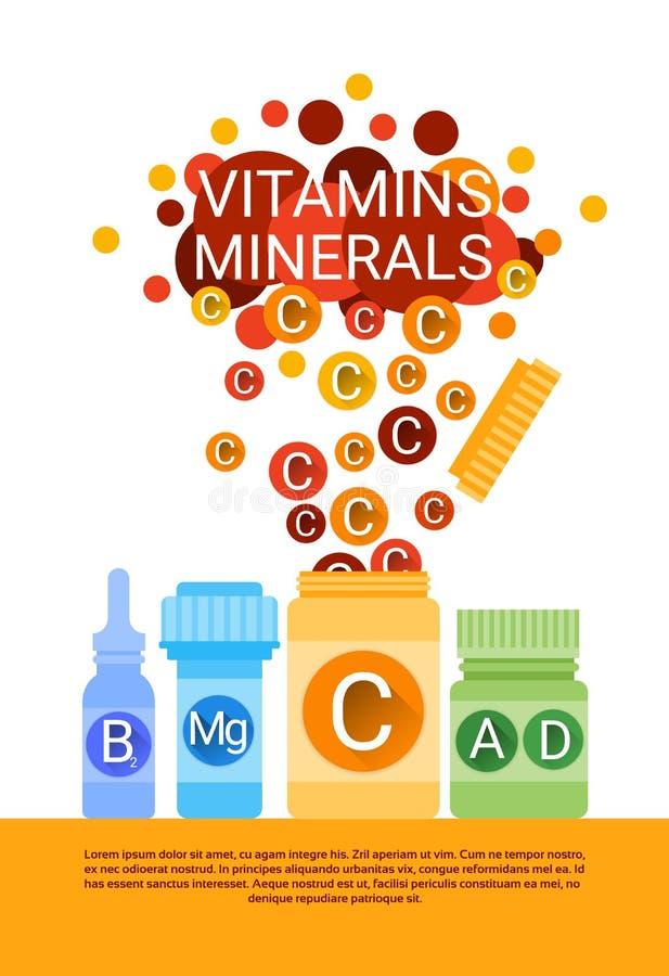 Flasche wesentliche chemische Element-Nährmineral-Vitamine stock abbildung