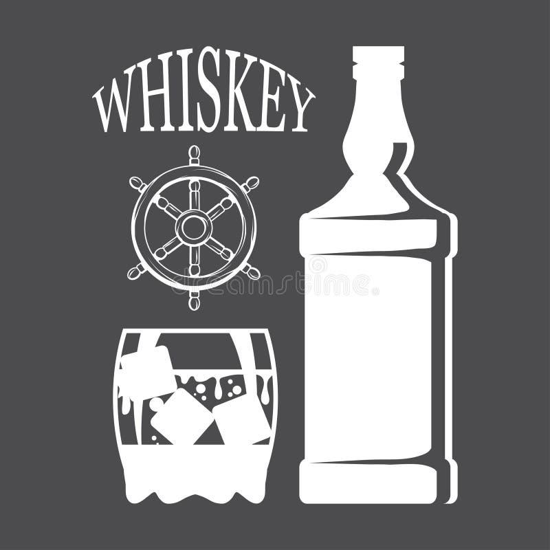 Flasche Whisky und Glas, Besäufnis, Flasche und ein Glas, Alkoholgetränk, Alkohol für Männer, Flasche Whisky, alt lizenzfreie abbildung