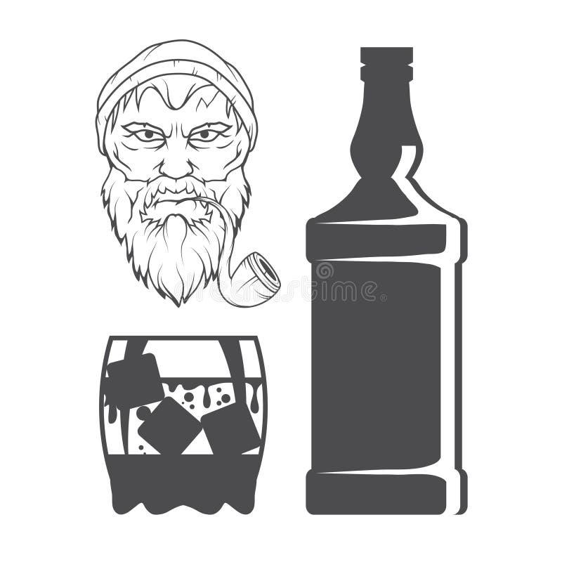 Flasche Whisky und Glas, Besäufnis, Flasche und ein Glas, Alkoholgetränk, Alkohol für Männer, Flasche Whisky, alt vektor abbildung