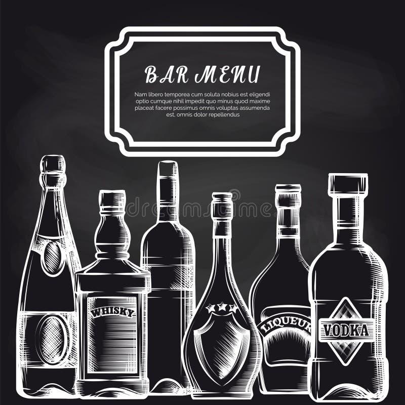 Flaschen auf Tafelbarkartehintergrund stock abbildung