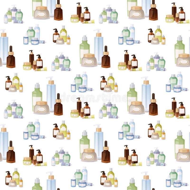 Flaschen des flüssigen Satzes des kosmetischen Cosmetologylotionsmake-upschönheits Sahneplastikbehälters vector nahtloses Muster vektor abbildung