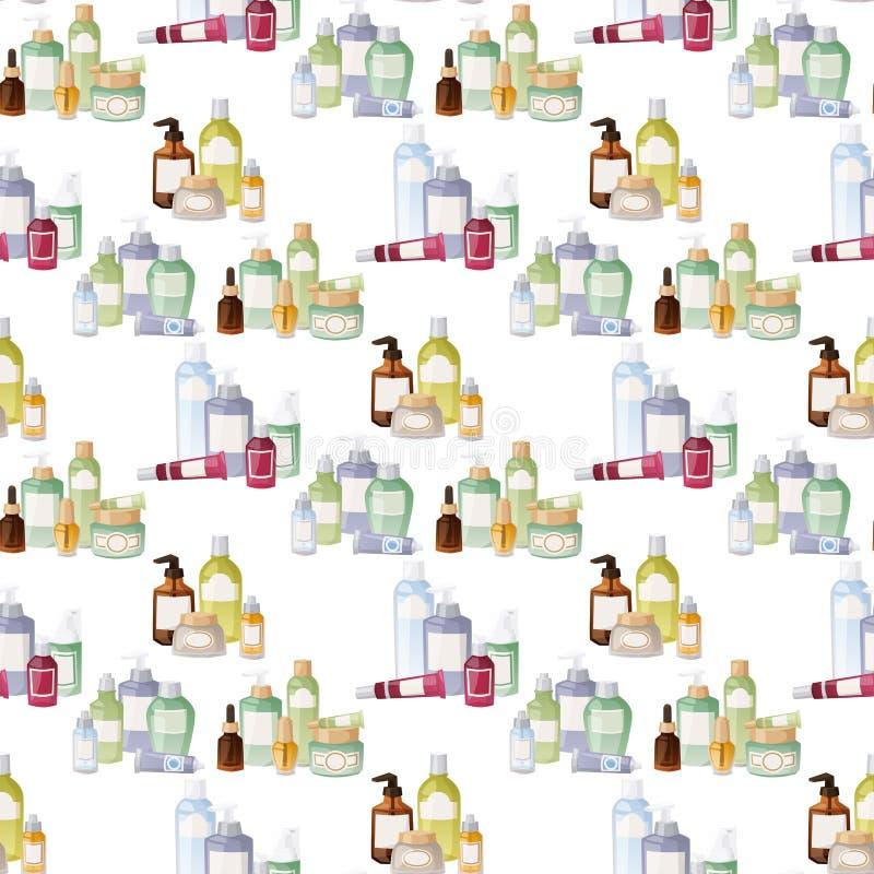 Flaschen des flüssigen Satzes des kosmetischen Cosmetologylotionsmake-upschönheits Sahneplastikbehälters vector nahtloses Muster lizenzfreie abbildung
